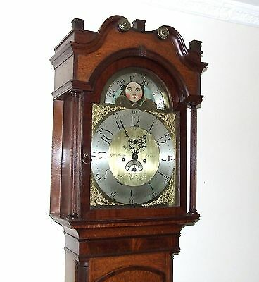 Antique Rolling Moon Oak & Mahogany Longcase Grandfather Clock MOYLE CHESTER 4