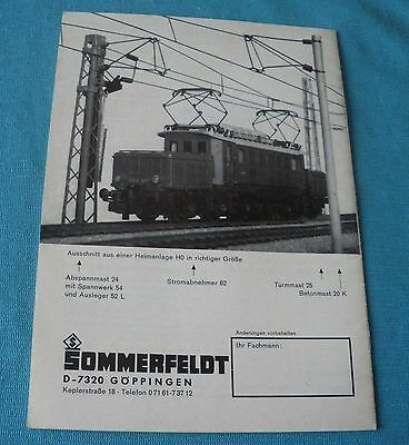 Sommerfeldt 1969 w germany fold 12 leaves Ho N O network train electrical