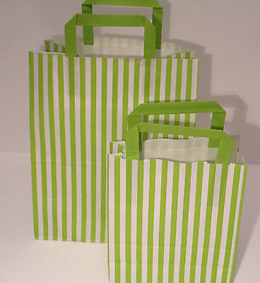 FLAT STRIPE Handle Coloured Paper Bags For Parties & Christmas Bags 6