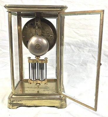 Antique French Four Glass Brass Striking Bracket Mantel Clock Japy Freres 5