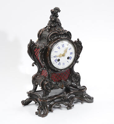 Japy Freres Antique French Bronze Rococo Table Clock Music Fully Working C1890 2