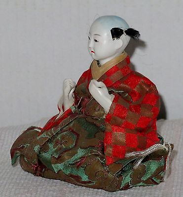 """Antique Japanese Seated 4.5"""" Musician Drummer Hina Doll BH4#AD4161415.8 7"""