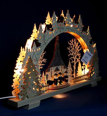 3D LED Lichterbogen Schwibbogen Kirche Seiffen 4 bunte Schneemänner 30x20 10244