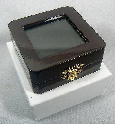Cherry Red Wood Coin Box with Black Velvet Interior BOX ONLY