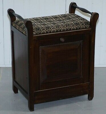 Victorian Mahogany Piano Stool Bauhaus Upholstery Internal Music Storage Drawer 3