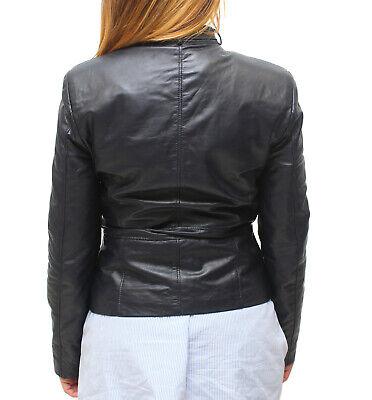 sale retailer fa3f4 46c94 VIETRI LEATHER - Giacca Donna Vera Pelle Blu Blazer Biker Slim Giubbino  Avvitato