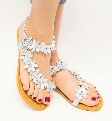 6fe83e1b962604 ... Womens Flower Gladiator Flat Sandal Thong Flip Flops Open Toe Y-Strap  Style 2