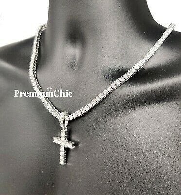 ICED Cross Pendant & Tennis Chain Choker Gold Silver Plated Mens HipHop Necklace 6