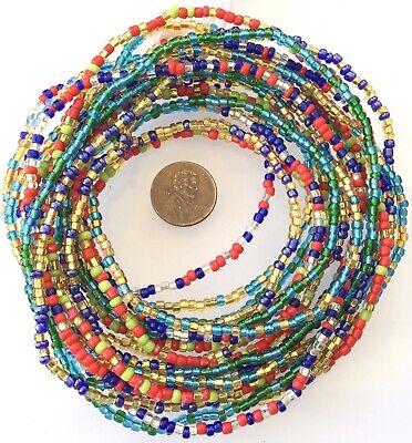 4 Strands Multi Colored Fine Waist Beads,African Trade Beads-Ghana 2