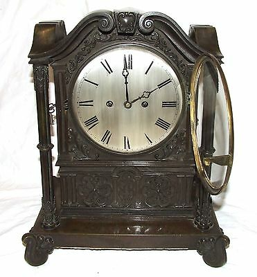 Antique Gothic BRONZE Twin Double Fusee Bracket Mantel Clock CLEANED & SERVICED 4