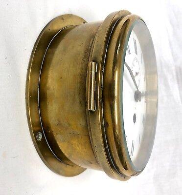 Antique Ships Marine Bulkhead Bulk Head Brass Cased Ships Clock ENAMEL DIAL 8