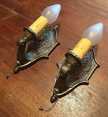 Matched Pair Of Sconces Beautiful Pull chain Sconces Great!!! 2