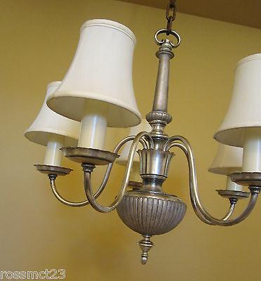 Vintage Lighting antique 1920s silver chandelier   Living Room Bedroom Bath 2