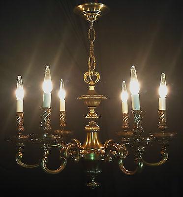 Vintage Deco Era Victorian Solid Cast French Brass chandelier light fixture. 4