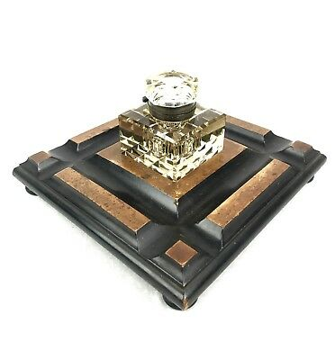 Antique Wooden Desk Stand With Smoked Cut Glass Inkwell / Large / Victorian 8
