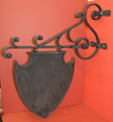 Art Deco Wavy Iron Sign Bracket, Holder, 26 in., by Worthington Forge in USA 12