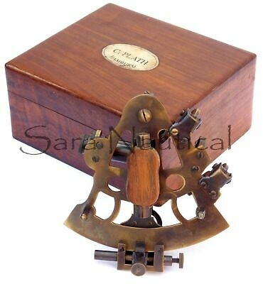 Nautical Brass Antique Sextant Vintage Brass Antique With Wooden Box 5