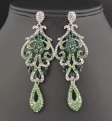 Pageant austrian crystal rhinestone chandelier dangle earrings prom pageant austrian crystal rhinestone chandelier dangle earrings prom e2090 green aloadofball Image collections