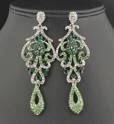 Pageant austrian crystal rhinestone chandelier dangle earrings prom 1 of 4 pageant austrian crystal rhinestone chandelier dangle earrings prom e2090 green aloadofball Images