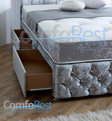 ULTRA MODERN CRUSHED VELVET DIVAN BED iBEX Plus, 3ft/4ft/4ft6/5ft, MADE IN UK 3
