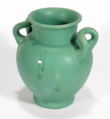 Camark Pottery Matte Green Arts Crafts 2 Handled Drip Vase Camden