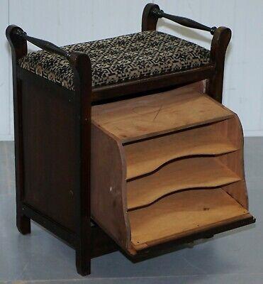 Victorian Mahogany Piano Stool Bauhaus Upholstery Internal Music Storage Drawer 9