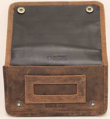 Quality Full Grain  Vintage Leather Tobacco Pouch. Style:12033. BLACK/BROWN 5