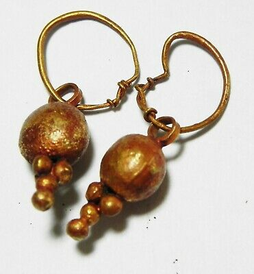 Zurqieh -As13500- Ancient Canaanite . Pair Of Gold Earrings. 1550 - 1200 B.c 3