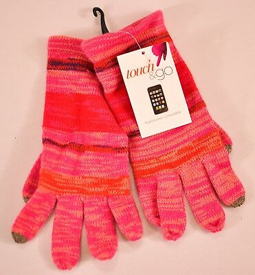women's Touch & Go gloves pink stripe one size smart phone touch finger MSR $30 4