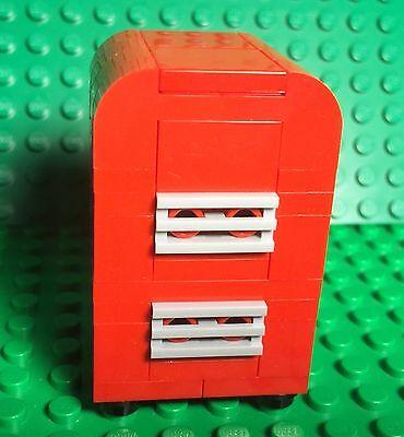 Lego New Red Retro Fridge,MOC Mini Figures Kitchen Interior Refrigerator Freezer