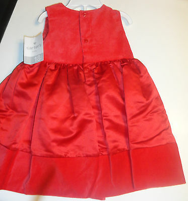 844bfde28a8a BABY GIRL CARTER S Christmas Red Velvet   Satin Dress Set Size 18 ...