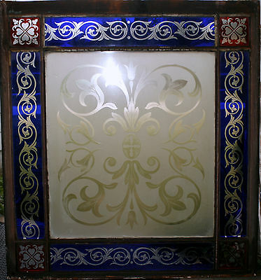 c1850 two glass window, cut glass to clear ruby, cobalt, clear, heart, tulip, 7' 2