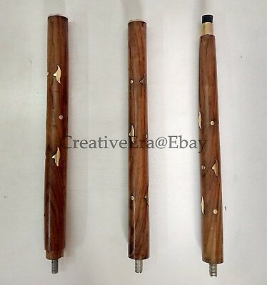 Designer Brass Head Handle Walking Stick Brown Wooden Brass Inlaid Cane Antique 12