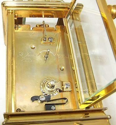 ENGLISH St James LONDON Brass Carriage Mantel Clock 11 Jewels : Working (59) 8
