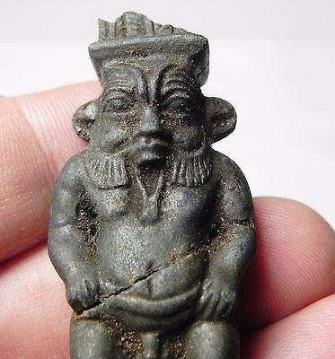 Zurqieh -Q195- Ancient Egypt , Rare Haematite Bes Amulet. 600 - 300 B.c 5