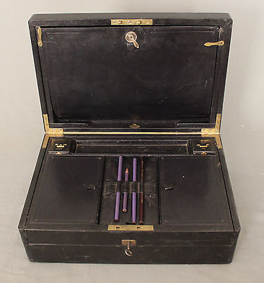 19th Century Leather Writing Box by W Leuchars 38 Piccadilly London 2