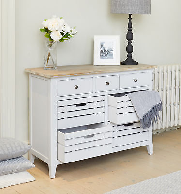 Signature Solid Wood 7 Drawer Sideboard Servery Cabinet Grey Limed Oak Top 3