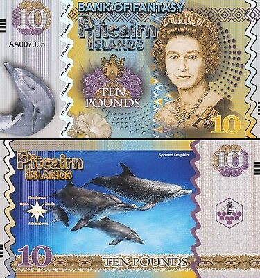 Pitcairn Islands 6 Pcs Set Unc 5 10 20 50 100 500 Pounds 2018 Same Serial Number 4