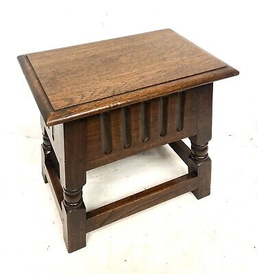 Antique Carved Oak Joint Stool Slipper Box / Occasional Table / Lamp Stand 3