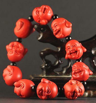 China old natural red jade cinnabar bangle Chinese jade buhhda beads Bracelet 2