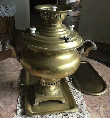 "Antique Late19th Century Imperial Russian Brass Samovar 18"" Hight by Batashev 2"