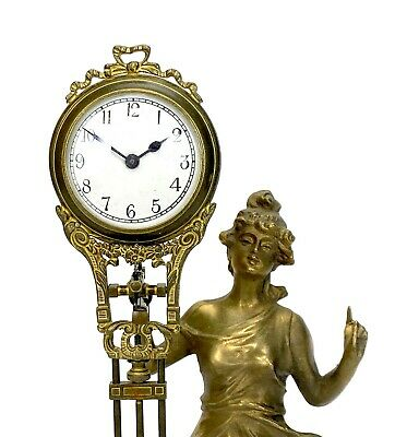 German Style Junghans Brass Diana Lady Figure 8 Day Swinging Swinger Clock 4