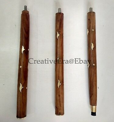 Designer Brass Head Handle Walking Stick Brown Wooden Brass Inlaid Cane Antique 10