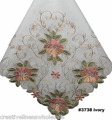 """Embroidered Peach Floral Sheer Tablecloth 70x104/"""" /& 12 Napkins Ivory #3738W"""