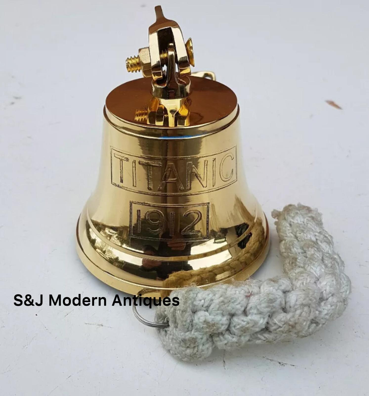 Antique Brass Wall Bell Titanic Ship's School Pub Last Orders Dinner Door 3 inch 8