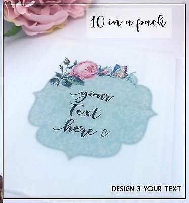 10 Personalised glassine Confetti Favour Treat Sweet Bags Vintage Wedding soap