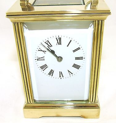 French Brass Carriage Clock with Bevelled Glass & Winding Key WORKING 5