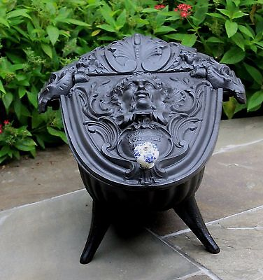 Antique French Gothic Victorian Cast Iron Fireplace Hearth Coal Hod Scuttle 8