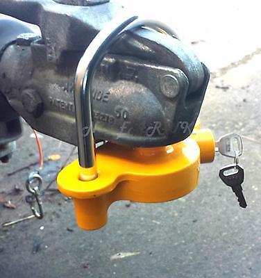 key lock Shackle & Ball Tow Hitch Coupling Security Caravan Trailer BRIGHT box 2