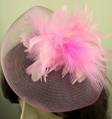 baby pink feather fascinator millinery burlesque wedding hat bridal race ascot 1 2